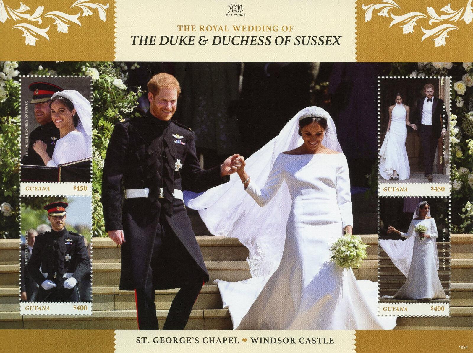Guyana 2018 MNH Prince Harry and Meghan Royal Wedding 4v M/S III Royalty Stamps