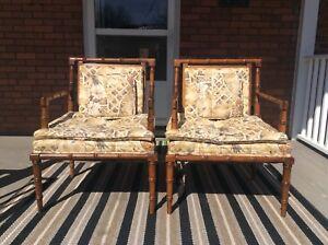 2 Mid Century Modern Vintage Bassett Faux Bamboo Chairs