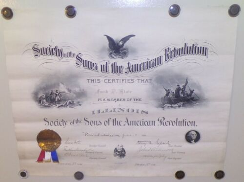 RARE 1893 SONS OF THE AMERICAN REVOLUTION MEMBERSHIP CERTIFCATE FRANK BLAIR!