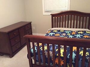 3- in-1 crib convertible bed set and matching dresser.