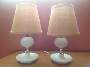 Bedroom milk glass lamps