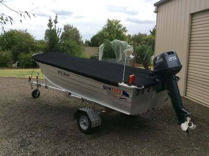 Quintrex 375 Dart, Yamaha 25 hp motor and fold up trailer for sale.