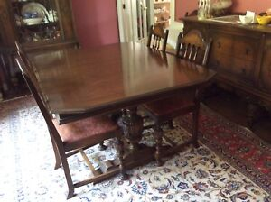 ANTIQUE DINING ROOM SET-GLASS HUTCH-TABLE-CHAIRS