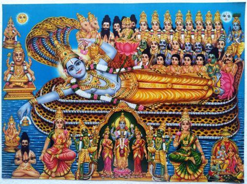Hindu Religious Old Unique Vintage Paper Laminated Poster Sri Vishnu Narayan