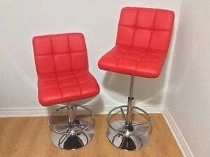 Bar stools red leather look/chaise haute bar rouge faux cuir
