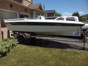 16ft Fibreglass boat with motor and trailer