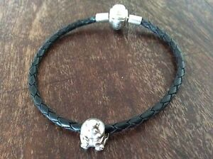STERLING SILVER & LEATHER BRACELET WITH HIPPO CHARM Highgate Hill Brisbane South West Preview