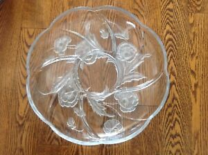 Beautiful Etched Glass Dip Platter