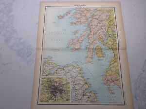 Antique Map of Scotland (1898 section 3)