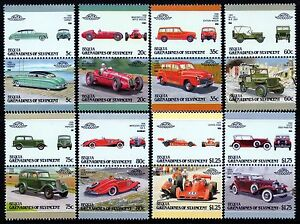 1987-BEQUIA-Set-7-Collection-of-16-Car-Stamps-Auto-100-Leaders-of-the-World