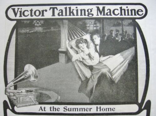 """1904 VICTOR TALKING MACHINE""""At The Summer Home""""Sweet Vtg Phonograph Art Print Ad"""