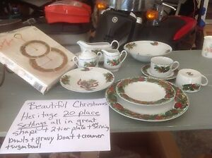 20 place settings + extras porcelain Christmas dishes