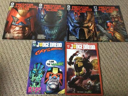 Judge Dredd vs Aliens vs Predator set Dredd Werewolf comics 2000AD