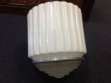 Art deco light shade white and dimpled glass