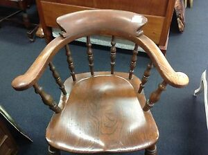 English Oak Captains Chair 1920s - solid timber chair. Ashmore Gold Coast City Preview