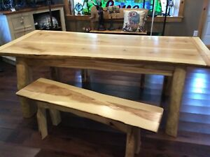Handmade live edge dining table set