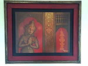 Oil on Canvas Thai painting in teak frame