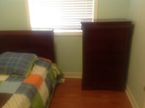 Twin bed with mattress and drawers