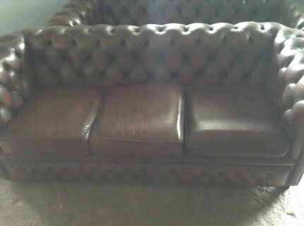 2 chesterfield leather lounges + tub chairs