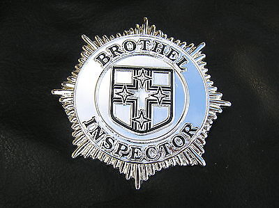 Quality Costumes Australia (BROTHEL INSPECTOR BADGE UK Silver-Plated *NEW & UNIQUE* High Quality 60mm)