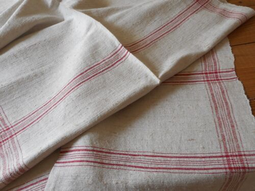 Antique French Rustic Loom Woven Linen Flax Fabric #1~ Red Plaid~ Pillow Runner