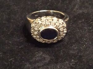14 Carat White Gold Sapphire and Diamond Ring - Size 7.5