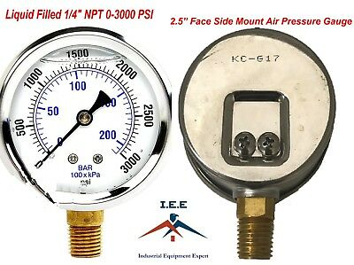 New 2-12 Hydraulic Liquid Filled Pressure Test Gauge 0 - 3000 Psi Lower Mount