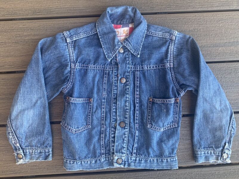 Vtg 50s Boys CIRCLE S RANCH Denim Jean JACKET Sears Kids
