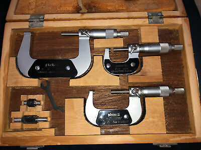 Phase Ii 0-3 3 Pc. Micrometer Set Orig Box Wrench Calibration Gages