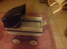 Navy and white cane dolls pram Alexander Heights Wanneroo Area Preview