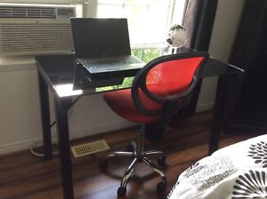 Office Desk / Computer Table, black glass top