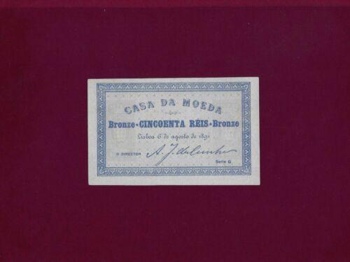 PORTUGAL  50 Reis 1891 P-86 RARE UNC-