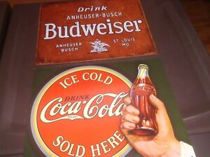 Affiches plaques murales Coca cola Bud Texaco Ford Indian Elvis