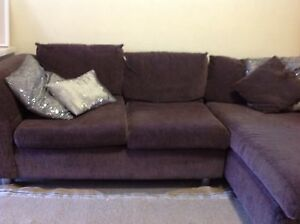 Grey brown chaise fabric modular lounge sofa Hurstville Hurstville Area Preview