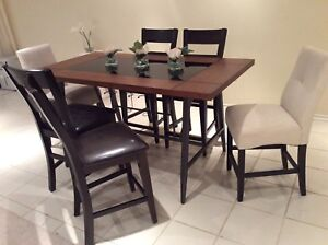 High counter table and 6 chairs