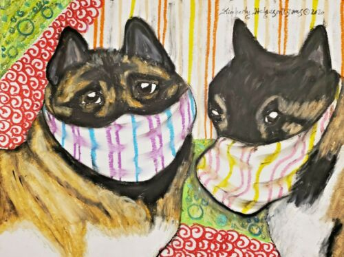AKITA in Face Masks Art Print 4x6 Dog Collectible Signed by Artist KSams