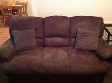 3 seater brown suede lounge & 2 reclining single lounge chairs Wallsend Newcastle Area Preview