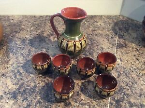 Wine or spirit set with 6 glasses in terracotta