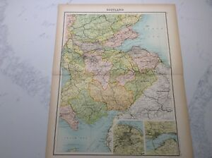 Antique Map of Scotland (1898 section 4)