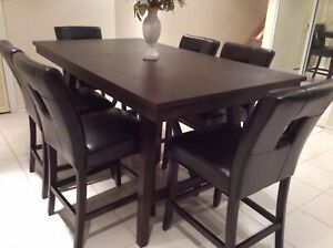 Counter high table and 6 leather chairs