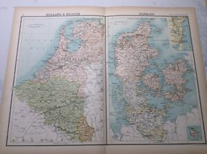 Antique Map of Holland , Belgium and Denmark (1898)