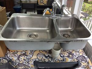 Double Kitchen sink and Kohler faucet