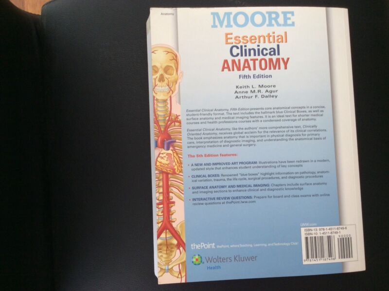 Moore Essential Clinical Anatomy 5th Edition Book Textbooks