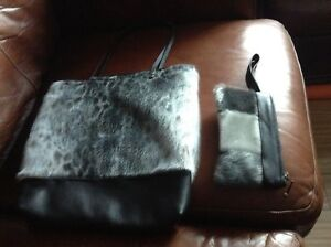Brand new seal skin purse and wallet with black leather