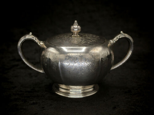 Antique Floral Silverplate Sugar Bowl By Wm A Rogers