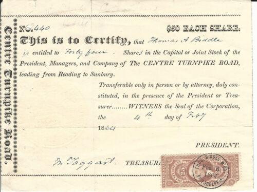 1864 PENNSYLVANIA The Centre Turnpike Road Stock Certificate Reading to Sunbury