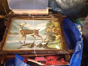 Vintage paint by number and frames. Deer and moose