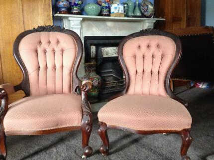 Antique grandfather and grandmother chairs