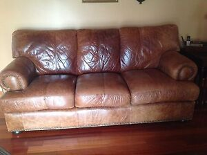 Leather couch set brown