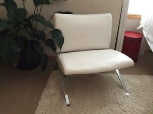 White Faux Leather and Chrome Chair